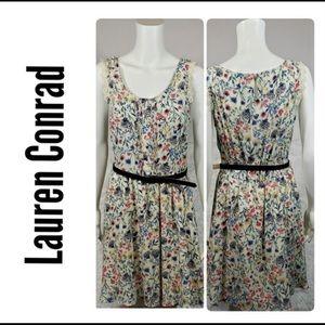 Lauren Condrad Floral Dress with Navy Blue Belt